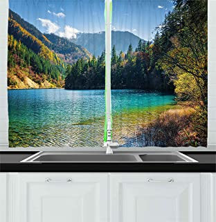 Ambesonne Landscape Kitchen Curtains by, View of National Park in China Arrow Bamboo Lake Autumn Colored Woods Mountains, Window Drapes 2 Panels Set for Kitchen Cafe, 55W X 39L Inches, Green Blue