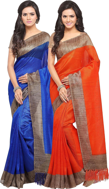 Rajnandini Women's Tussar Silk Plain Saree(JOPLNB3006AD_bluee And orange_Combo Of 2)