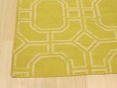 EORC Handmade Wool Reversible Modern Moroccan Kilim Rug, 5' x 8', Gold