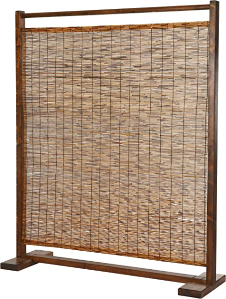 MyGift Rustic Style Wood And Reed Single Panel Privacy Screen Room Divider