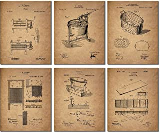 Laundry Room Patent Prints - Set of 6 (8 inches x 10 inches) Vintage Wall Art Decor Photos