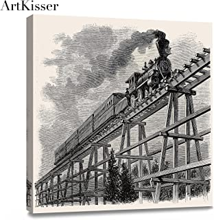 ArtKisser Old Train with Gray Smoke Steam Trains in Progress Wall Art Painting The Picture Print On Poster Canvas Car Pictures Wall Art for Home Decor Decoration Gift 12