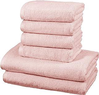 AmazonBasics - Juego de 6 toallas de secado rápido, 2 toallas de baño y 4 toallas de mano - Rosa claro