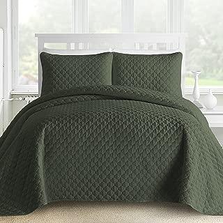 Comfy Bedding 3-Piece Bedspread Coverlet Set Oversized and Prewashed Lantern Ogee Quilted, King/Cal King Sage