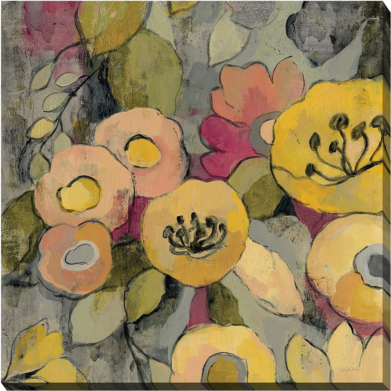 Art Source 24 x24  Yellow Floral Duo II Crop Wall Artwork