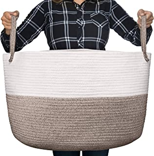 Luxury Little Nursery Storage Basket, Size XXXL :: 100% Cotton Rope Hamper with Handles :: Sturdy Baby Bin Organizer for Laundry, Toys, Blankets, Pillows & More, 22