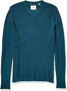 Men's Cotton Cashmere Mini Waffle Crew Neck Sweater