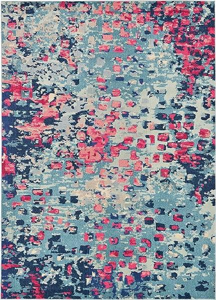 独特的织布机 Jardin 系列充满活力的抽象蓝色区域地毯 7 0X10 0