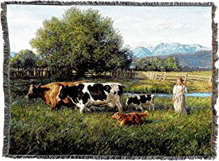 Pure Country Weavers | Country Girl and Cows Woven Tapestry Throw Blanket Cotton with Fringe Cotton USA 72x54