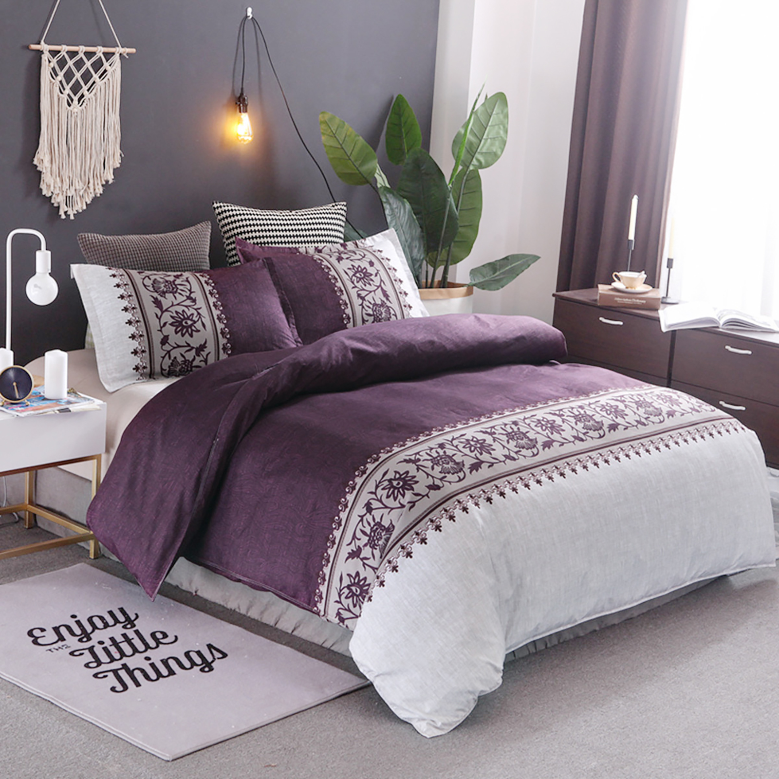 Wongs Bedding Purple Duvet Cover Single Modern Reversible Purple Beige Printed Quilt Cover With Zipper Closure Luxury Soft Microfiber Single Size135x200cm Amazon Co Uk Kitchen Home