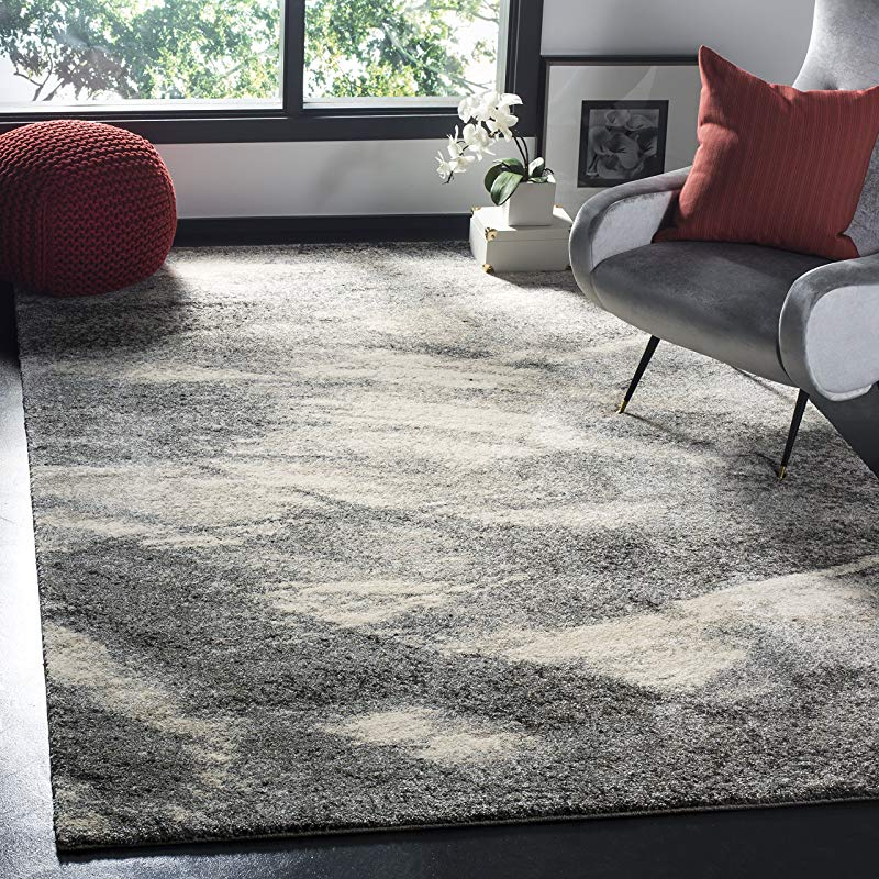 Safavieh Retro Collection RET2891 8012 Modern Abstract Grey And Ivory Area Rug 3 X 5
