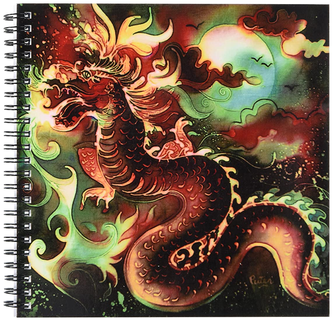 3dRose db_116228_1 Colorful Chinese Dragon in The Moonlight Digital Oriental Art-Drawing Book, 8 by 8-Inch