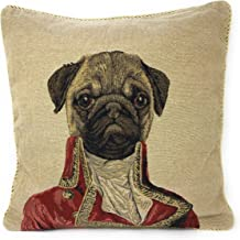 Tache 1 Piece 18 X 18 Inch Square French Vintage European Pug Dog Napoleon Bownparte Woven Tapestry Cushion Pillow Throw Cover