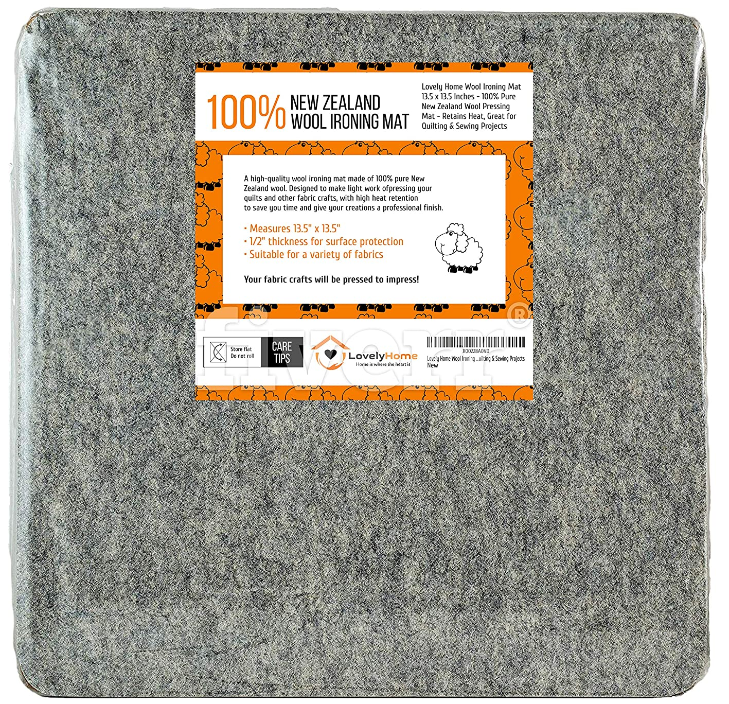 Lovely Home Wool Ironing Mat 13.5 x 13.5 Inches - 100% Pure New Zealand Wool Pressing Mat - Retains Heat, Great for Quilting & Sewing Projects gefmqyemjyw198