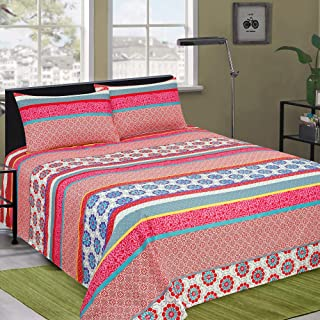 Microfiber Double Bed Sheet with 2 Pillows- Soft, Silky Brushed & Wrinkle free Bed Sheet Set, UCLIN Color & Size of 238 X ...