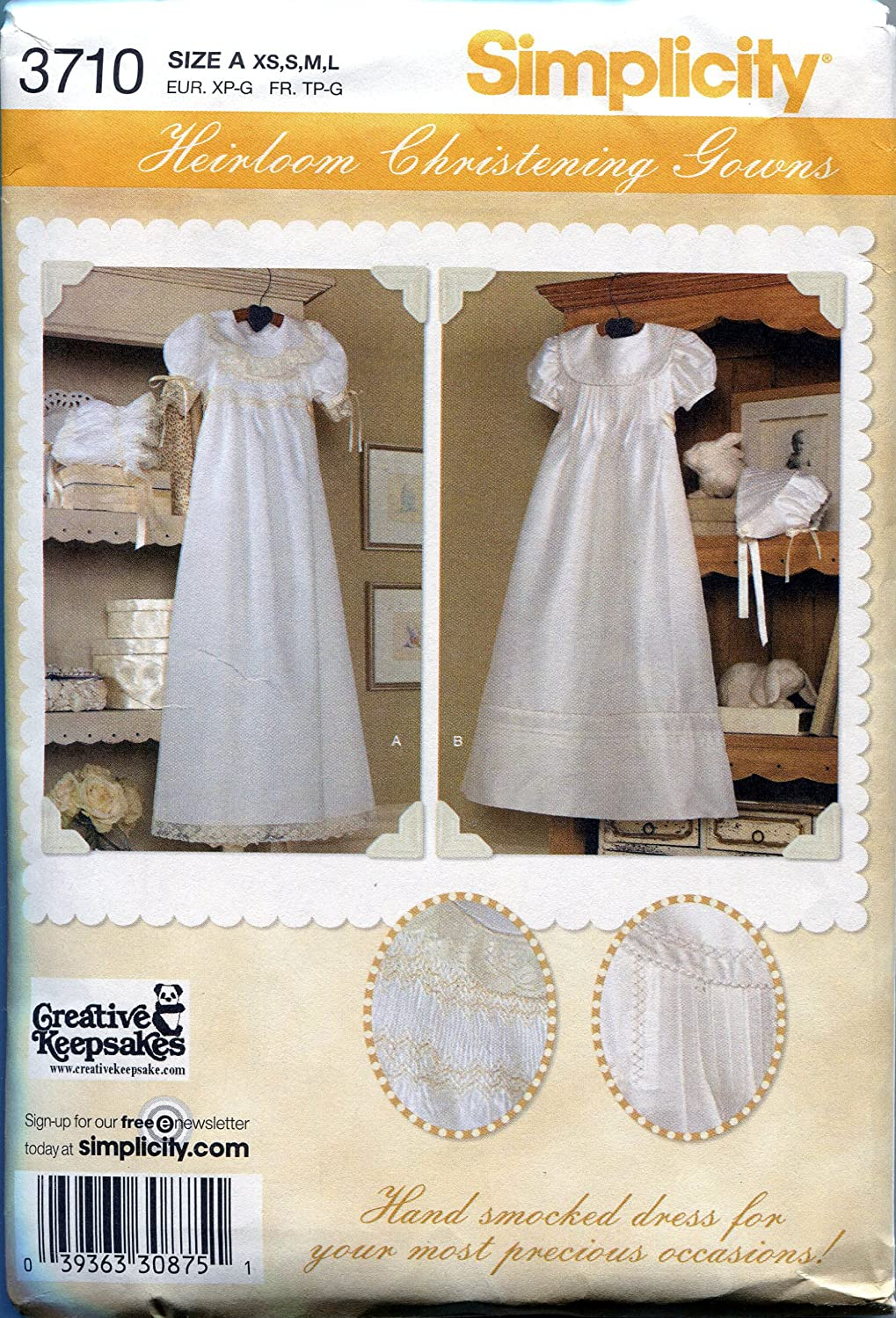 Simplicity Sewing Pattern 3710 Babies' Christening Gowns and Bonnets Including Smocking Instructions