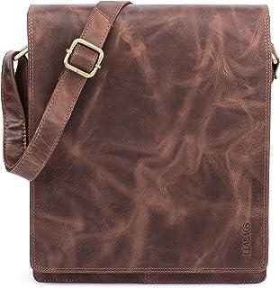 LEABAGS London Leder-Umhängetasche I Laptoptasche bis 13 Zoll I Messenger Bag aus echtem Büffel-Leder im Vintage Look I Sc...