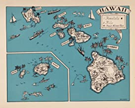 Vintage Hawaii State Map 1930s Blue Cartoon Map of Hawaii Picture Map Print Blue Gallery Wall