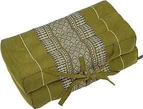 "Kapok Dreams Foldable Pillow, Seat, Chairpad and Meditation Cushion, 100% Natural Kapok Stuffing, Bamboogreen 16"""