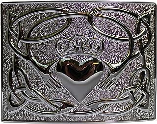 Claddagh Design Kilt Belt Buckle Polished Chrome Finish - Made in UK