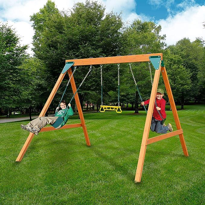 Swing-N-Slide PB 8360 Ranger Wooden Swing Set - Safe & Secure