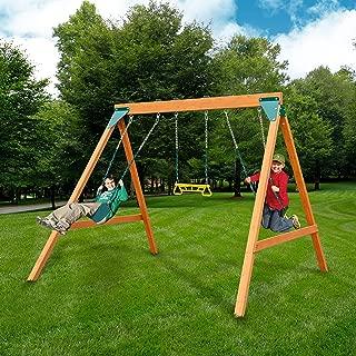 slide and swing set wooden