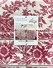 April Cornell Fabric Tablecloth Holiday Floral Toile Pattern Red Flowers Leaves Berries on Cream - Felicity Red, 60 Inches by 84 Inches