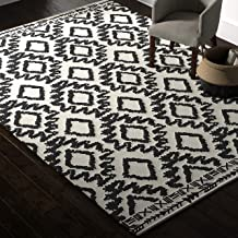 Rivet Black and Ivory Global Print Cotton Area Rug, 8 x 11 Foot