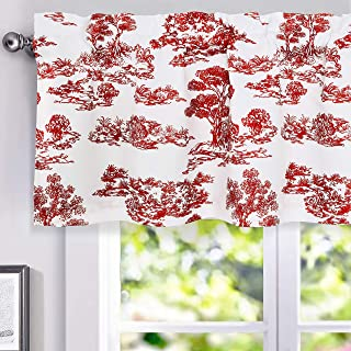 DriftAway Lola Toile Sketch Forest Tree Botanical Lined Thermal Insulated Window Curtain Valance for Living Room Bedroom Kitchen 2 Layers Rod Pocket 52 Inch by 18 Inch Plus 2 Inch Header Red