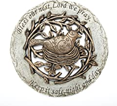 Roman Exclusive Terrace Garden Stone with a Bird in Nest and Verse, 12.2-Inch, 2-Tone Dolomite/Resin