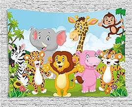 Ambesonne Nursery Tapestry, Comic Savannah Animals Playful Friendly Safari Jungle Happy Wildlife Nature, Wide Wall Hanging for Bedroom Living Room Dorm, 80