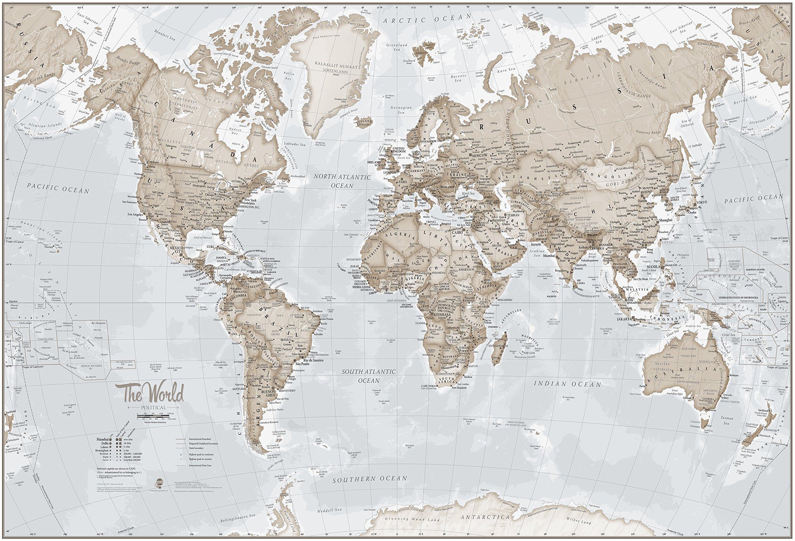 Maps International Mural de Mapa del Mundo Gigante – Decoración de ...