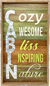 Cabin Sign Rustic Wooden Wall Decor Vertical Hanging Outdoorsy Accent 17