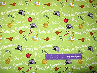 Frosty The Snowman Christmas Magic Hat Snow Green Cotton Fabric BY THE HALF YARD