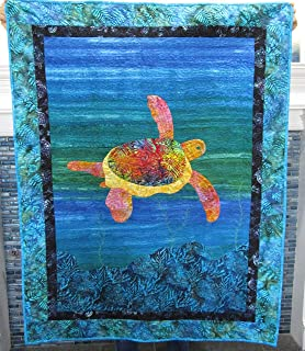 SEA TURTLE Quilted Wall Hanging, Baby Crib Quilt, Tropical Sea Life Turtle Hawaiian Coastal Baby Nursery, Adult Lap Throw