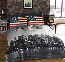 Urban Unique Funda de Edredon Individual Reversible con Estampado de Nueva York y Bandera USA, con Funda de Almohada