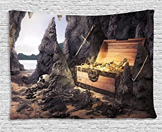 Ambesonne Fantasy Tapestry, Open Treasure Chest with Gold Coins in Cave Pirate Fairy Illustration, Wide Wall Hanging for Bedroom Living Room Dorm, 80