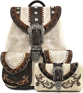 Justin West Trendy Western Rhinestone Leather Conceal Carry Top Handle Backpack Purse
