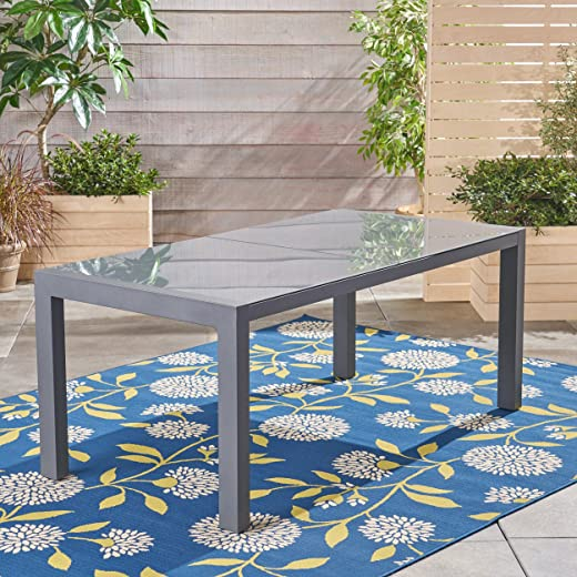 B07DWLYSJV✅Christopher Knight Home 305660 Eli Outdoor Tempered Glass Dining Table with Aluminum Frame, Gray