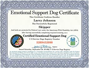 Certified Emotional Support Dog Certificate with Leather Presentation Folder   Fully Customized with Handler/Dog Information   Includes Free Registration at U S Service Dogs Registry