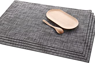 Florica Placemats Set of 4, Linen PVC Waterproof Insulation Mat for Dining Table, Heat-Resistant Placemats 12 x 18 inch (Gray)