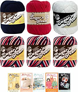 Lily Sugar n' Cream Variety Assortment 6 Pack Bundle Red White and Blue Patriotic Colors 100% Cotton Medium 4 Worsted with 5 Patterns (Multi 3)