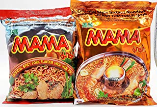 MAMA Ramen Style Instant Oriental Noodles Variety 30 Pack,15 Spicy Pork & 15 Creamy Shrimp Variety Pack