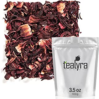 Tealyra - Pure Hibiscus Herbal Tea - Loose Leaf Tea - Organically Grown - Lower Blood Pressure & Help Weight Loss - Vitamins Rich Tea - Healthy Tea - Caffeine Free (3.5oz / 100g)