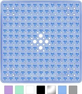 Yimobra Square Shower Mat for Bathtub, 21 x 21 Inches, Non-Slip with Drain Holes, Suction Cups, BPA, Latex, Phthalate Free, Machine Washable Bath Tub Mats, Clear Blue