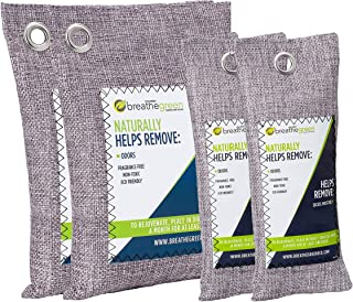 Breathe Green Bamboo Charcoal Air Purifying Bags (4-Pack Variety), Activated Charcoal Odor Absorber, Natural Air Freshener Removes Odor and Moisture, Odor Eliminator for Car, Closet, Bathroom, Pets, Shoes
