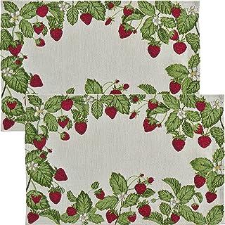 Sander TischsetStrawberries 2er-Pack Gobelin grün-rot Größe 32x48 cm