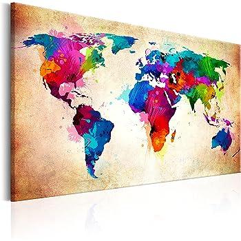 murando Tablero De Corcho & Cuadro en Lienzo 60x40 cm No Tejido XXL Estampado Memoboard Decoración De Pared Impresión Artística Fotografía Gráfica Poster Mapamundi Mapa del Mundo - k-C-0038-p-a: Amazon.es: Hogar