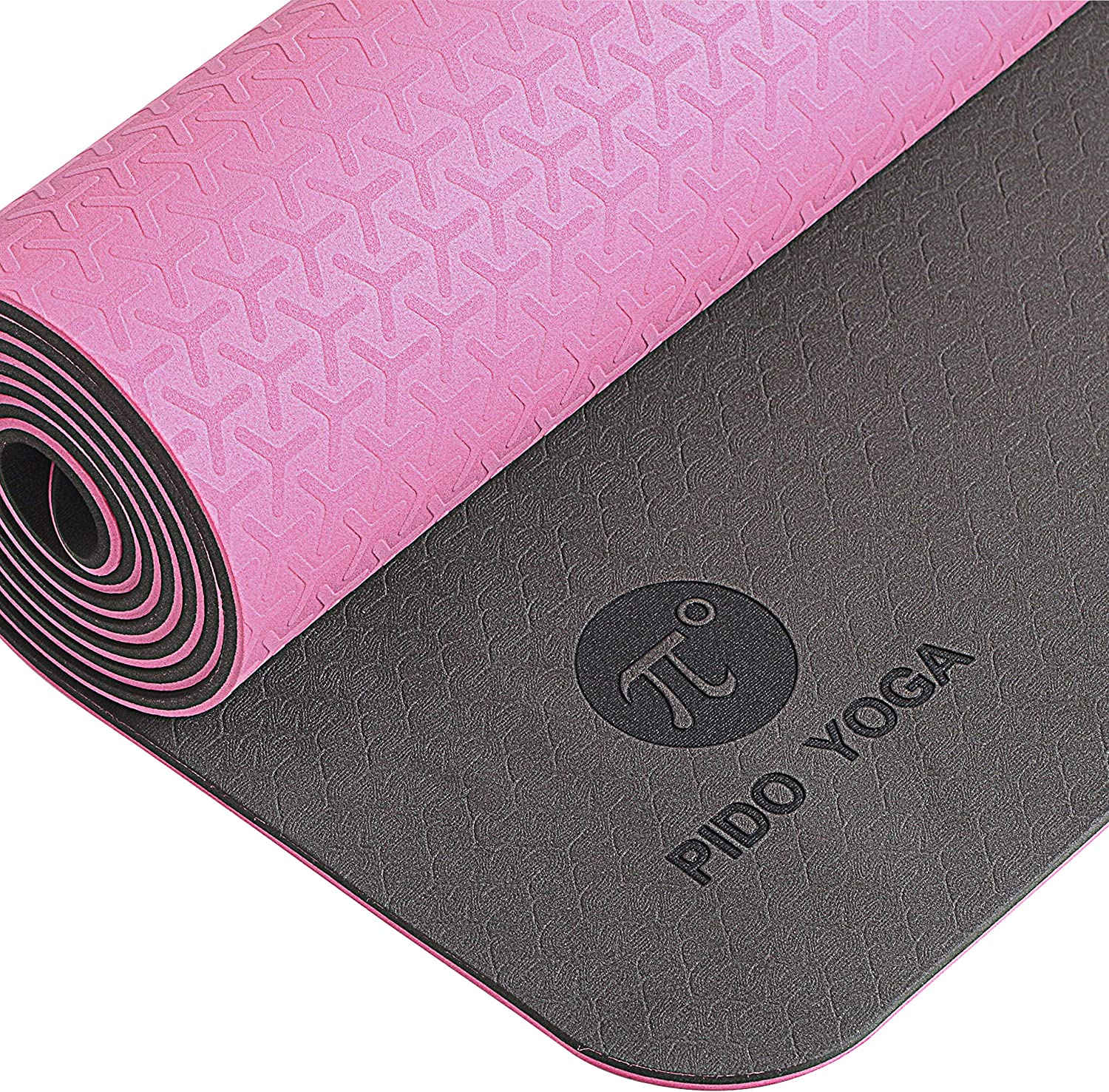 Pido Yoga Mat - 1/4 & 1/3 Inch Extra Thick Non Slip Yoga Mat for Women & Men Eco Friendly TPE Fitness Exercise Mat with Carrying Strap for Yoga, Pilates