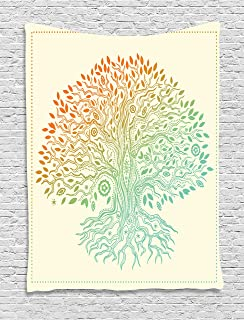 Ambesonne Tree of Life Decor Collection, Vintage Tree of Life Pattern Tribal Cultural Symbol Mandala Festive Stylized Design, Bedroom Living Room Dorm Wall Hanging Tapestry, Orange Teal